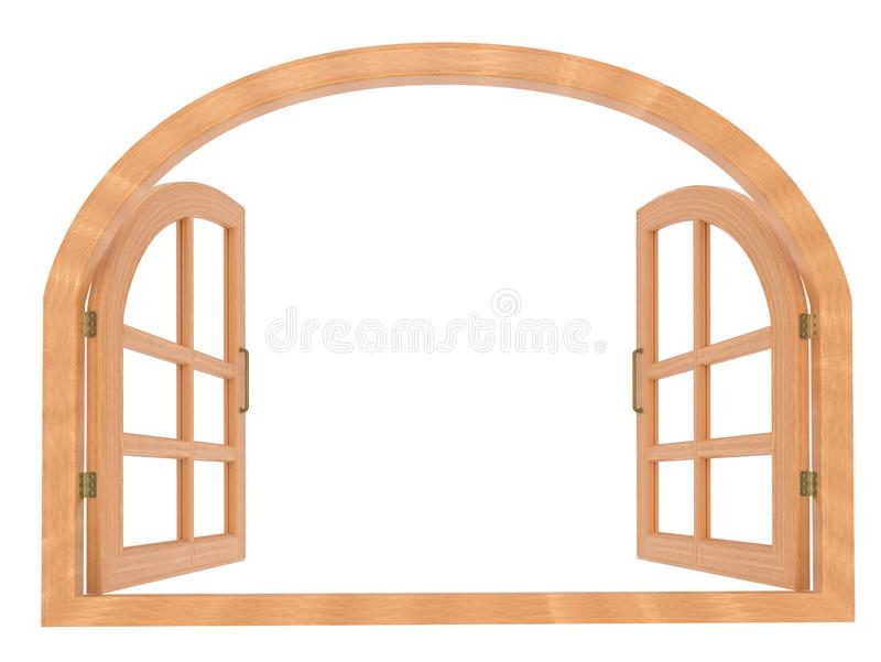 Realistic arched wooden window on white 3d rendering. Realistic opened french wood window with hinges royalty free illustration