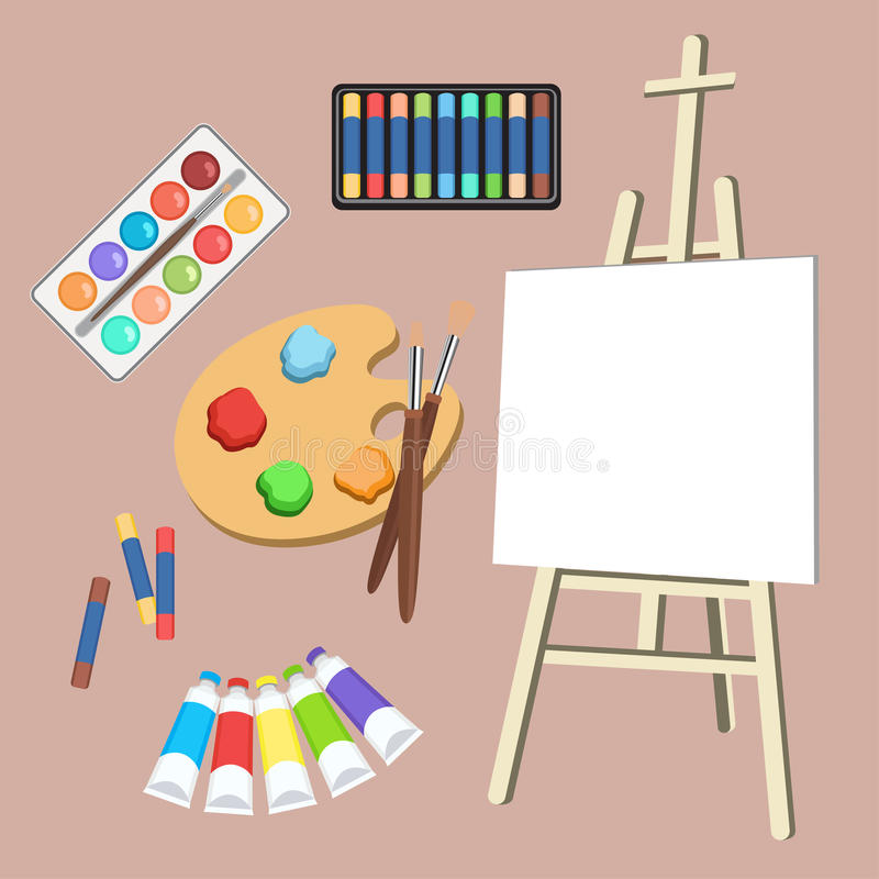 Realistic art supplies, set art materials. Artist Accessories. Easel, canvas, tablet, pastel, paint in tubes, watercolor stock illustration