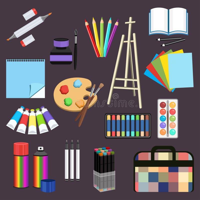 Realistic art supplies, set art materials. Professional art marker, colored pencil, sketchbook, palette and brush, easel stock illustration