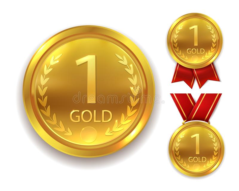 Realistic award medal. Winner gold medal for first place trophy champion honor best shiny circle ceremony prize with. Realistic award medal. Winner gold round vector illustration