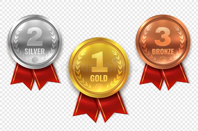 Realistic award medals. Winner medal gold bronze silver first place trophy champion honor best circle ceremony prize. Realistic award medals. Winner medal gold vector illustration