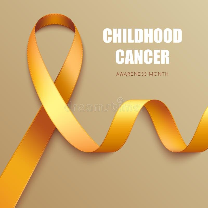 Realistic awareness ribbon. Realistic golden ribbon. Symbol of childhood cancer awareness royalty free illustration