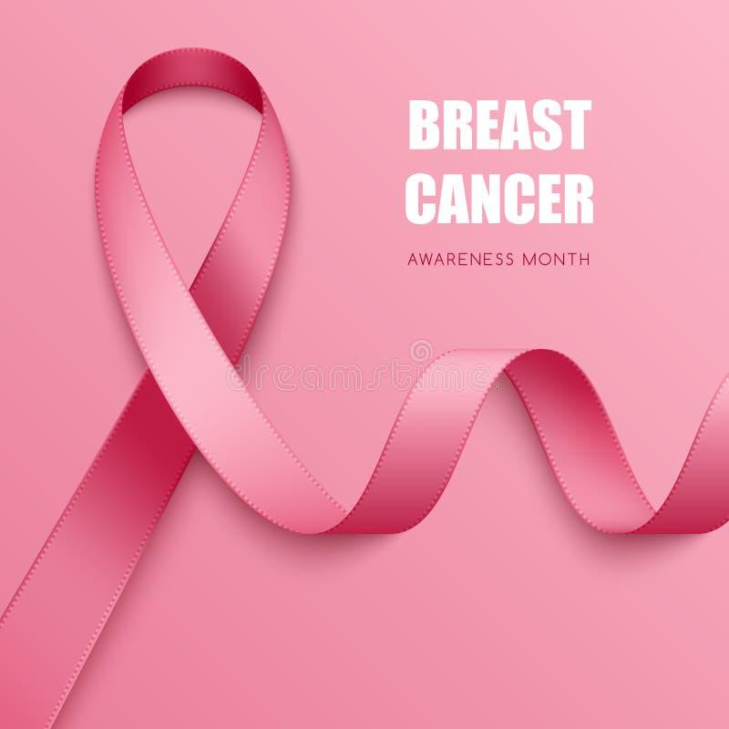 Realistic awareness ribbon. Realistic pink ribbon. Symbol of breast cancer awareness vector illustration