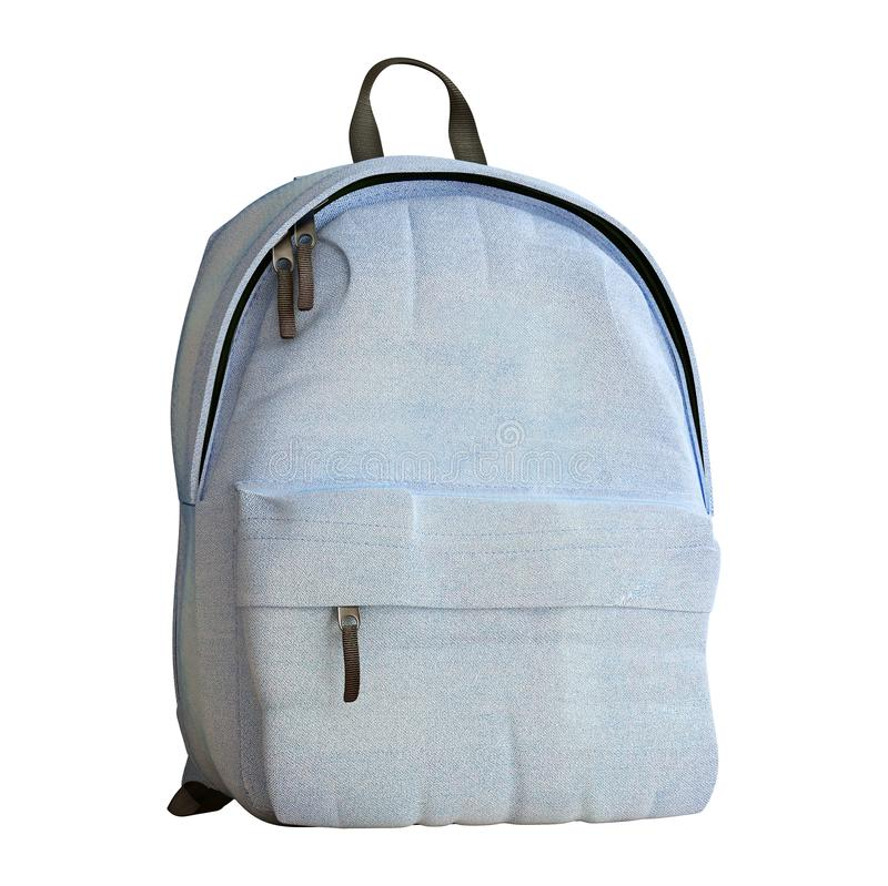 Realistic baby blue backpack isolated on white, close up, mock-up stock photos
