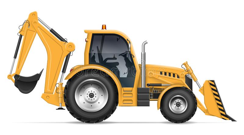 Realistic backhoe loader vector illustration. Backhoe loader view from side isolated on white background. Construction vehicle vector template, All elements in royalty free illustration