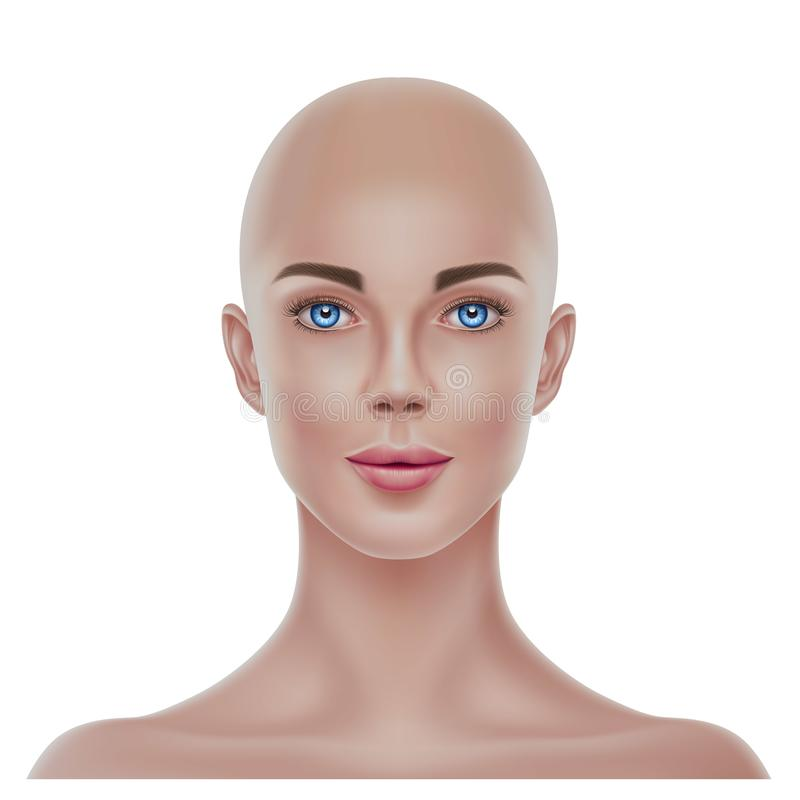 Vector realistic bald hairless woman portrait 3d royalty free illustration