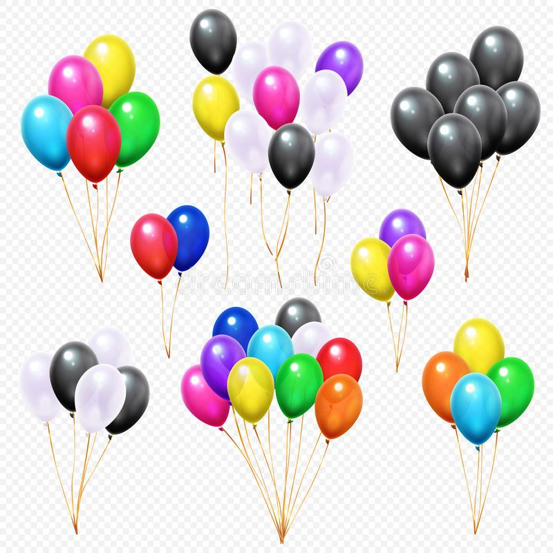 Realistic balloons bunches. Flying colorful party helium balloon bunch on string isolated vector set vector illustration