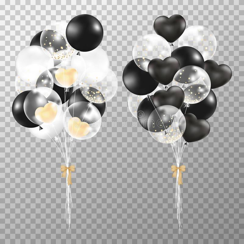 Realistic balloons on transparent background. vector illustration