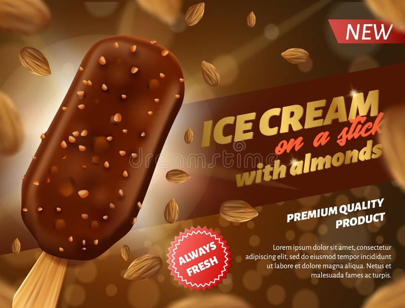 Banner Advertising Chocolate Ice Cream on Stick royalty free illustration