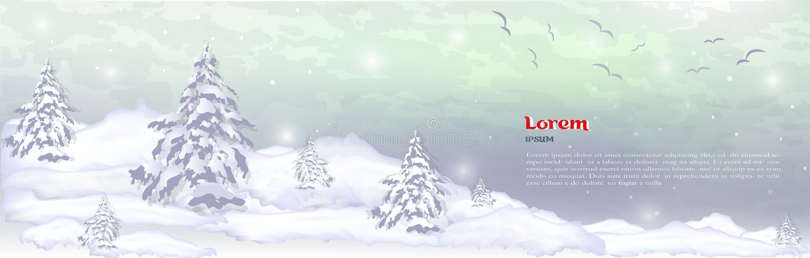 Realistic banner, hat for winter trees, pines and white snow sit stock photos
