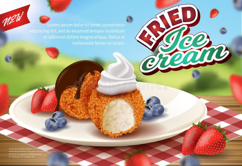 Banner Advertising Deep Fried Ice Cream in Crisp stock illustration