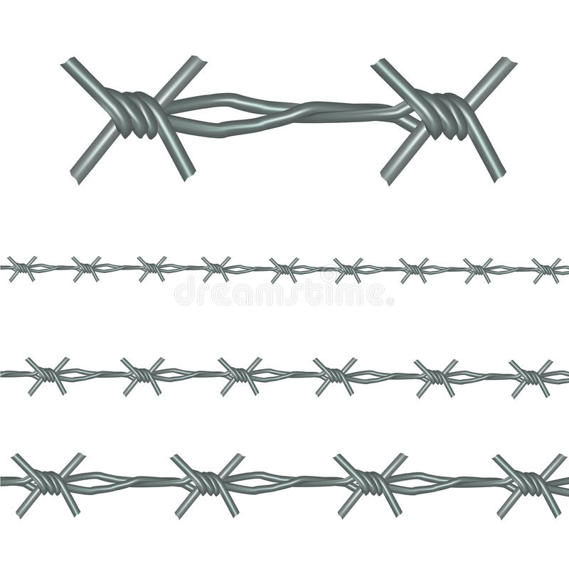 Realistic Barb Wire Set. Vector. Realistic Barb Wire Set Detail Metal Element and Line Barrier Border or Frame. Vector illustration vector illustration