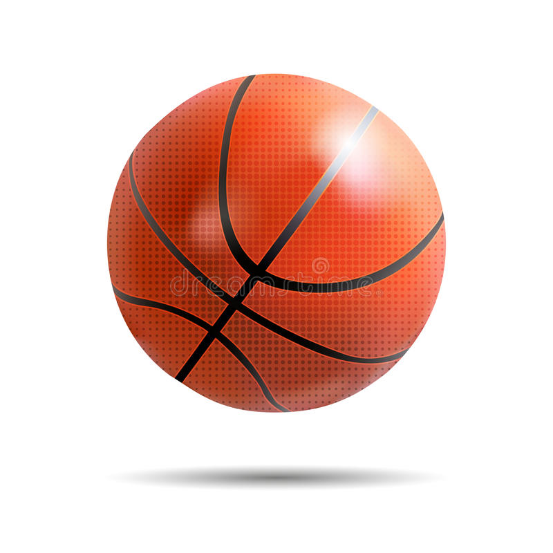 Realistic basketball ball on white with shadow stock photography