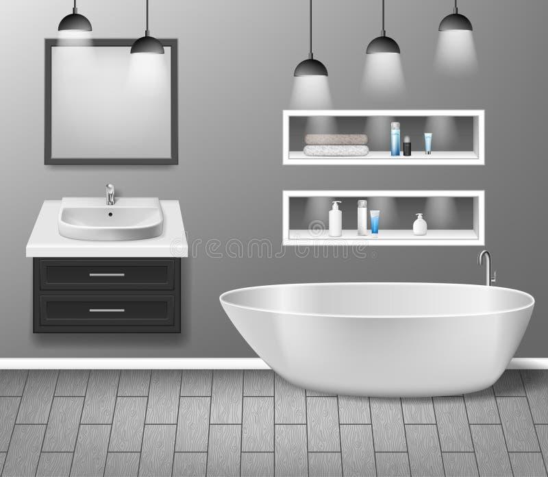 Realistic bathroom furniture interior with modern bathroom sink, mirror, shelves, bathtub and decor elements on grey vector illustration