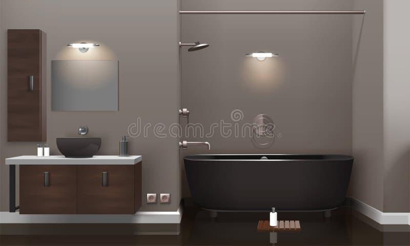 Realistic Bathroom Interior Design. With lighting, brown furniture, dark washbasin and tub, glossy floor 3d vector illustration vector illustration