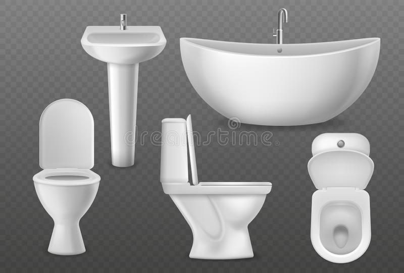 Realistic bathroom objects. White collection bathtub, toilet seat and washbasin with faucet. Bathroom sanitary vector 3d royalty free illustration