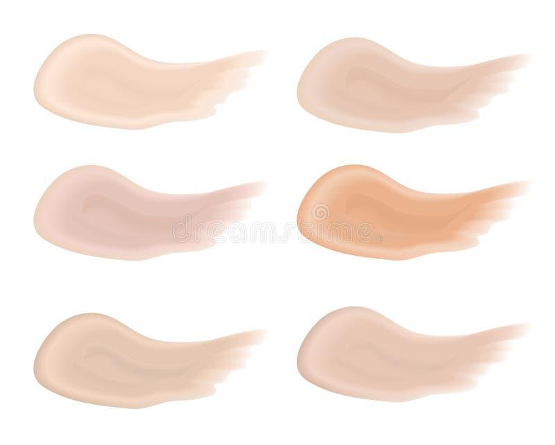Realistic bb cream strokes set. Multicolored palette splashes skin tone, Foundation Make Up. Isolated on white. Background. Vector illustration stock illustration