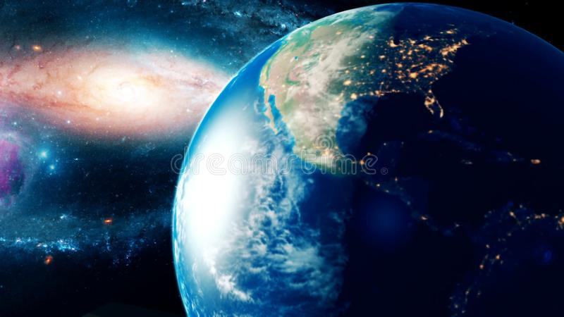 Realistic beautiful planet Earth from deep space stock images