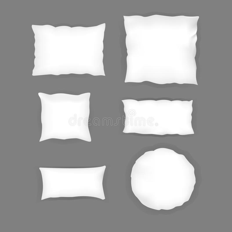 Realistic bedroom white pillow set. Various shapes and sizes. Vector illustration stock illustration