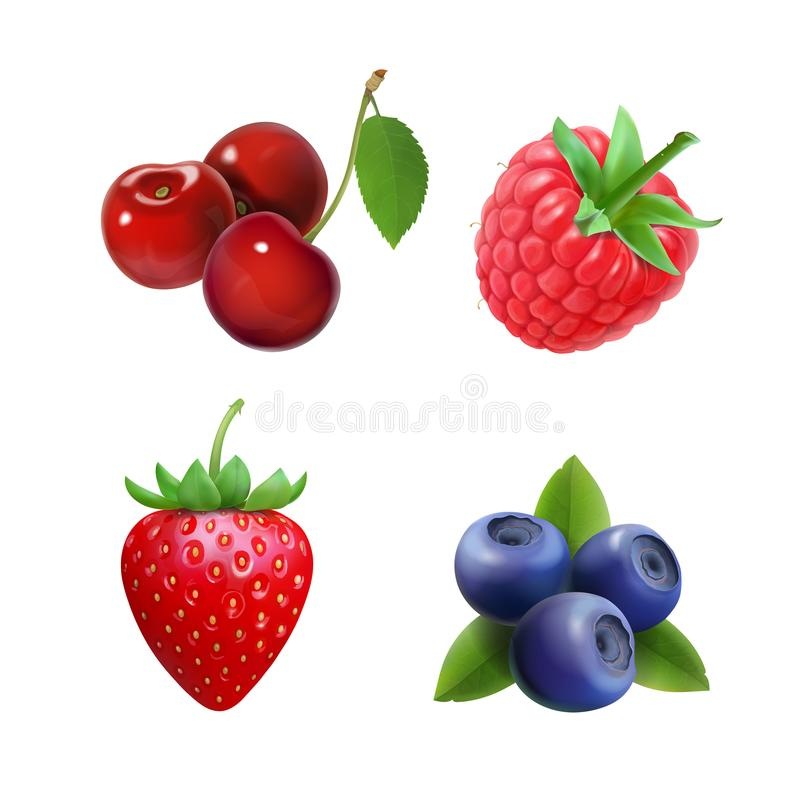 Free Realistic Berry Set. Strawberry, Raspberry, Blueberries, Cherry Illustration. Royalty Free Stock Images - 103953359