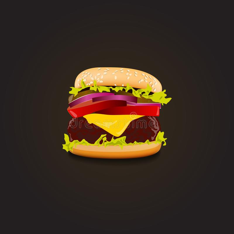 Realistic big cheeseburger. Vector illustration royalty free illustration