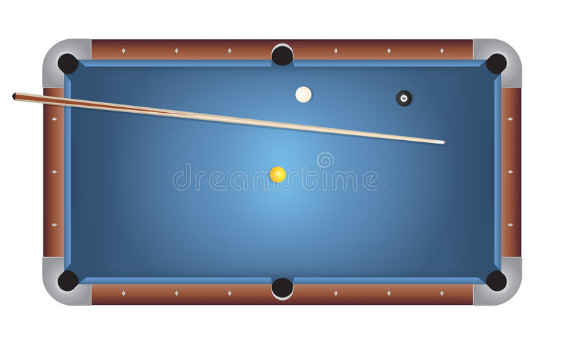 Realistic Billiards Pool Table Blue Felt Illustration. A realistic billiards pool table illustration. Blue felt top with wooden rails, stick, and balls. Vector royalty free illustration