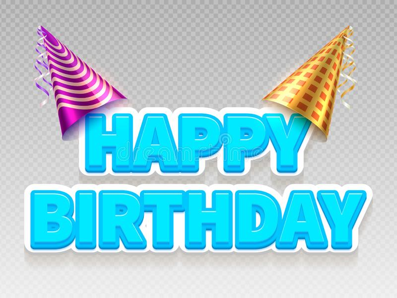 Realistic birthday party text banner. Happy Birthday and party stock illustration