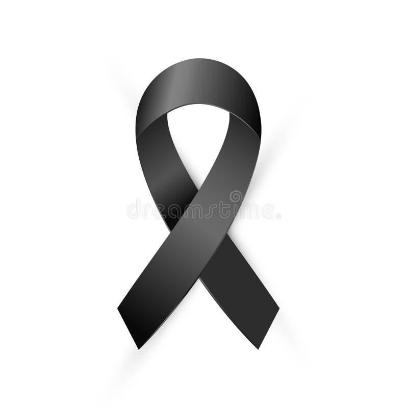 Black Awareness ribbon. Terrorism, death, Mourning and Melanoma icon royalty free illustration