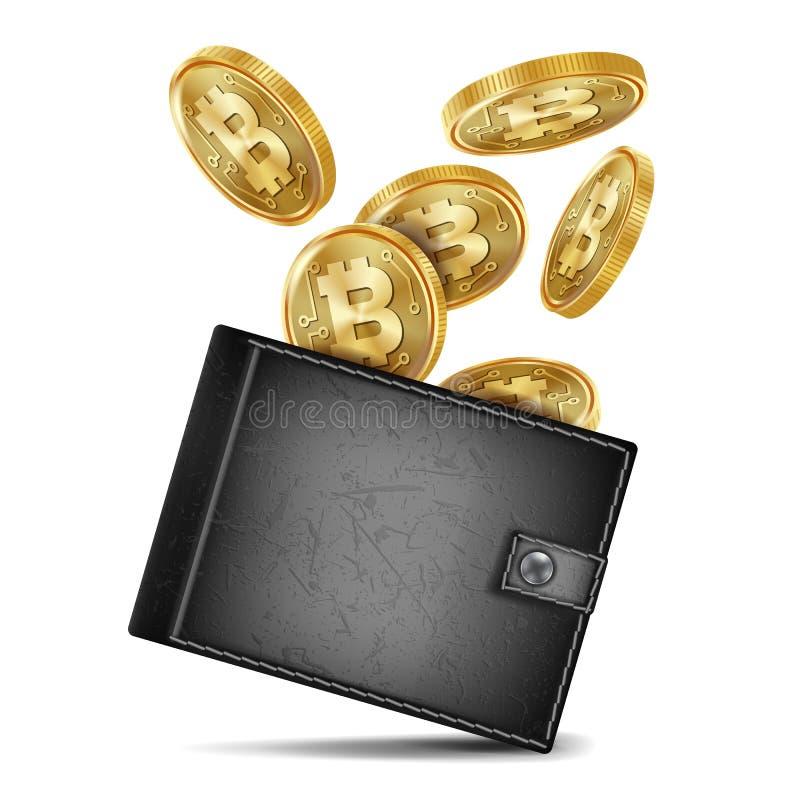 Bitcoin Wallet Vector. Black Color. Success Banking Cash. Realistic Black Bitcoin Wallet Vector. Investment Concept. Futuristic Digital Money. Money. Top View stock illustration