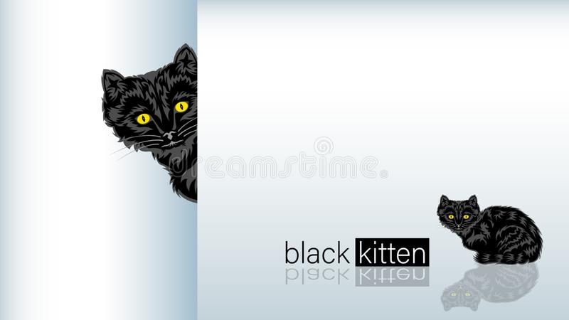 Black Cat sitting. Realistic Black Cat sitting on the mirrored floor. Kitten looks out,  on a white background, side view and front. Horizontal banner Vector stock illustration