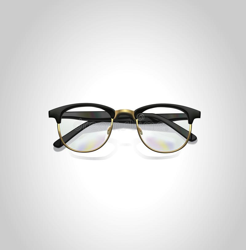 Realistic black classic glasses. Top view. Eps10 vector illustration. stock photo