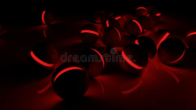 Realistic Black Glossy Plastic Spheres With Red Luminescent Cores Stock Illustration Illustration Of Engineer Data 92089446