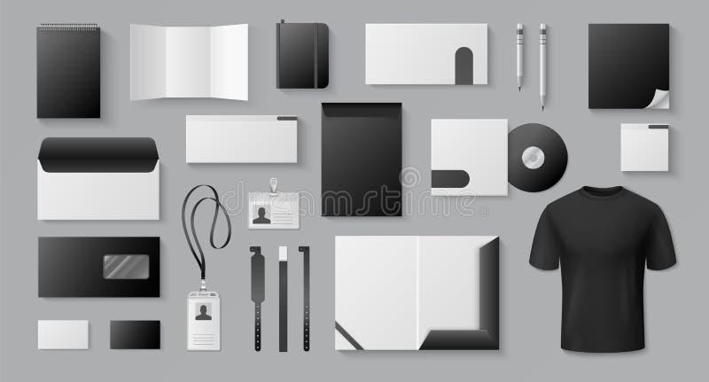 Realistic black mockup. Corporate brand business card letter stationery blank 3D documents brochures. Vector mock up. Office blank branded badge set stock illustration