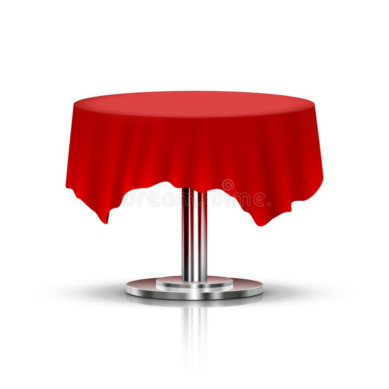 Realistic Black One Leg Round Table With Red Tablecloth royalty free illustration