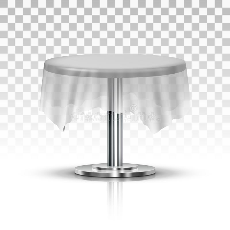 Realistic Black One Leg Round Table With Transparent Tablecloth royalty free illustration