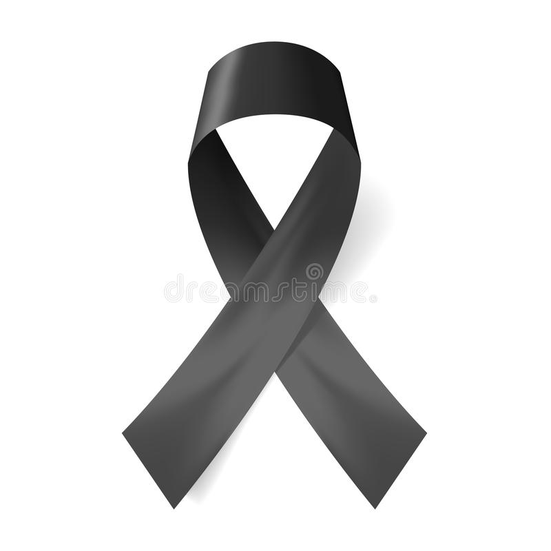 Realistic black ribbon, death symbol . Vector illustration stock illustration