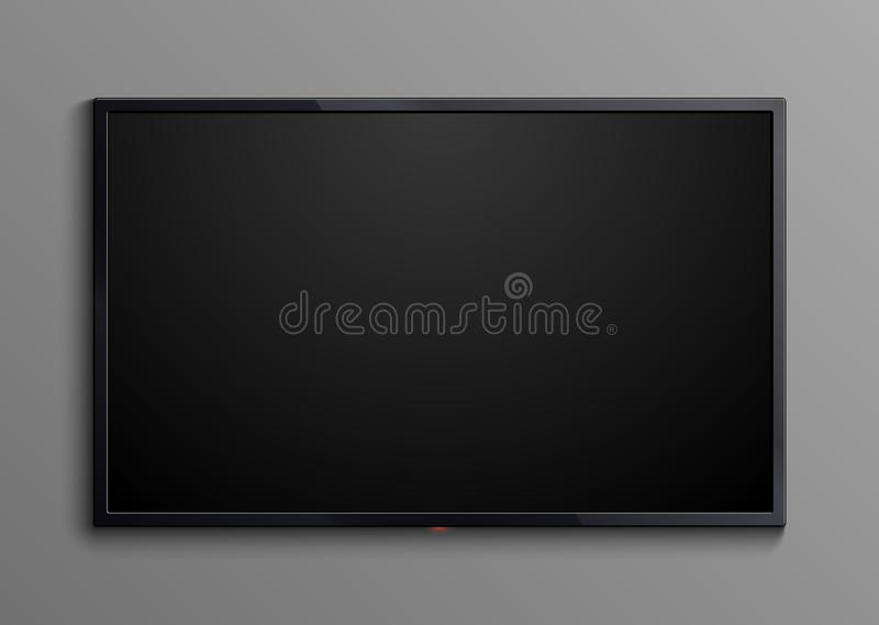 Realistic black television screen isolated. 3d blank led monitor display vector mockup vector illustration