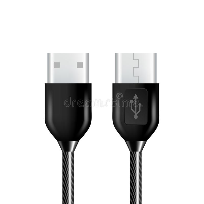 Realistic Black Usb Cable Connection Plug Vector. Realistic Black Usb Cable Plug Vector. Universal Headphone Usb Port Type-C Fast Charger And Connection Phone vector illustration