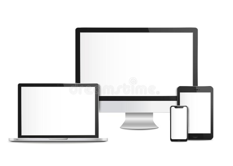 Realistic blank computer devices with screens, templates and mockups. vector illustration