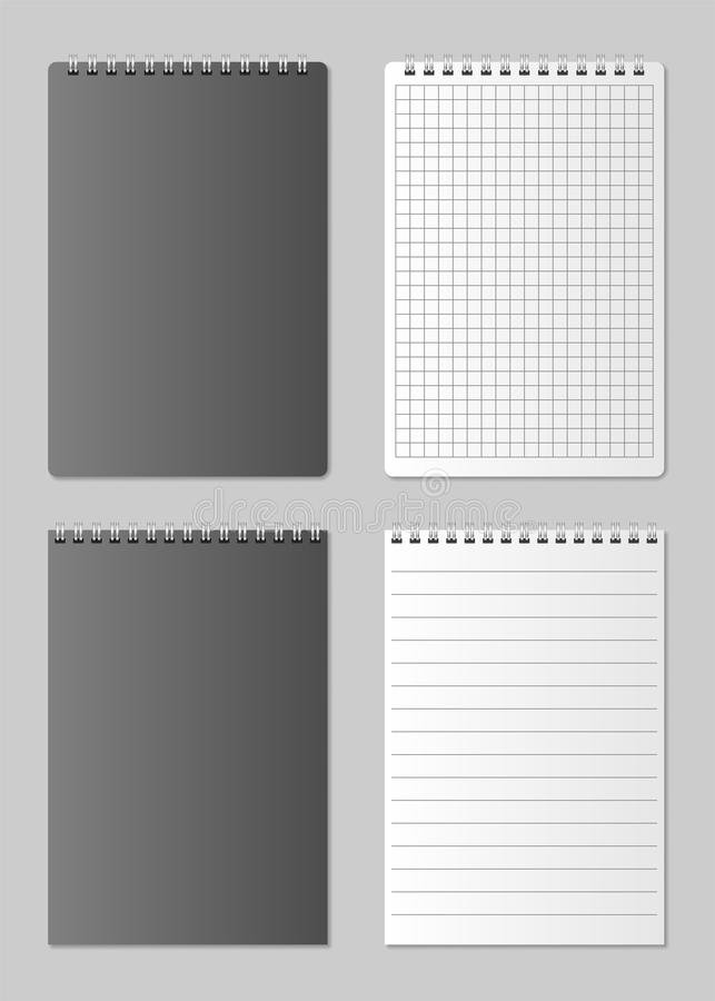 Realistic blank open and closed Notebook organizer. Realistic spiral notepad mockup for design. Set of notepad isolated stock illustration