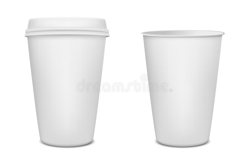 realistic blank paper coffee cup set isolated on white background