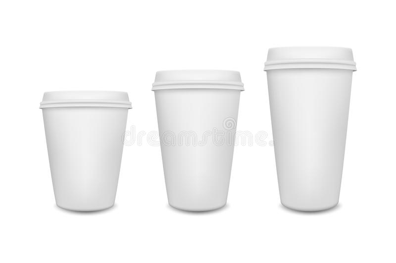 Realistic Blank Paper Coffee Cup Set On White Background ...