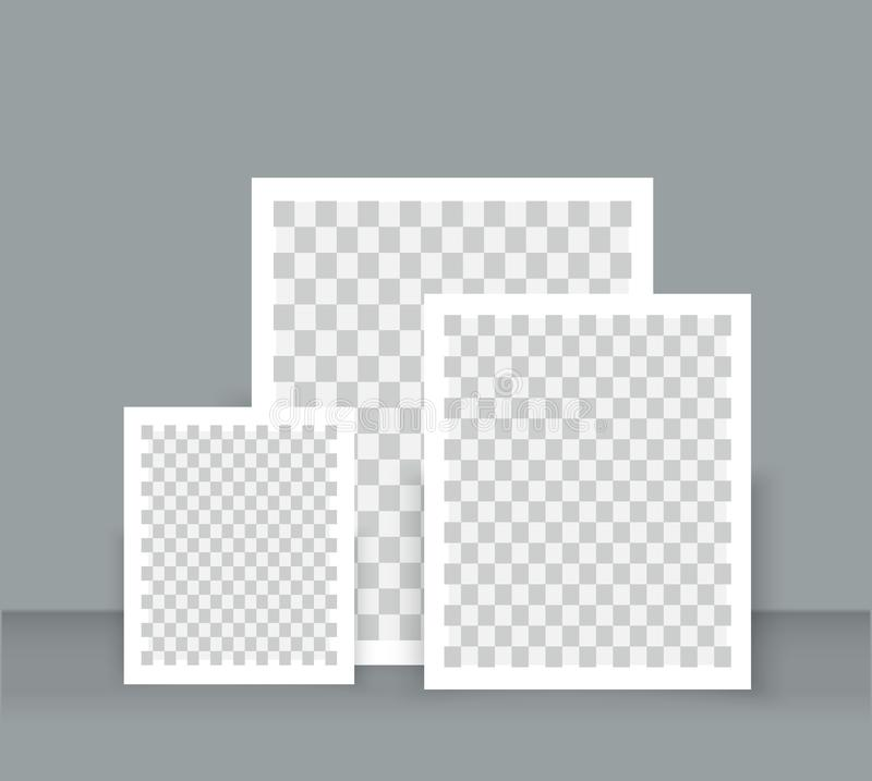 Realistic Blank Photo Frame Brochure Mockup Cover Template Stock
