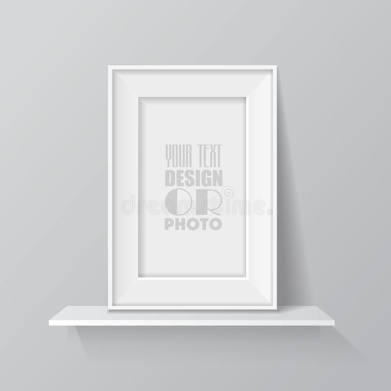 Realistic blank picture frame on white shelf. 3d vector royalty free illustration