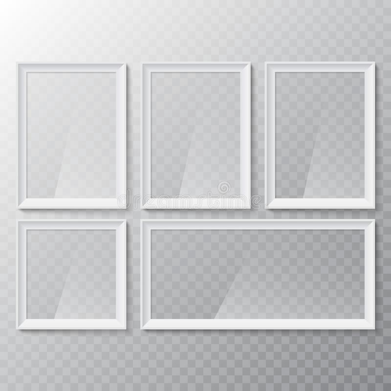 Realistic blank picture or photograph frame. Vector glass white photoframe for interior artwork design. vector illustration