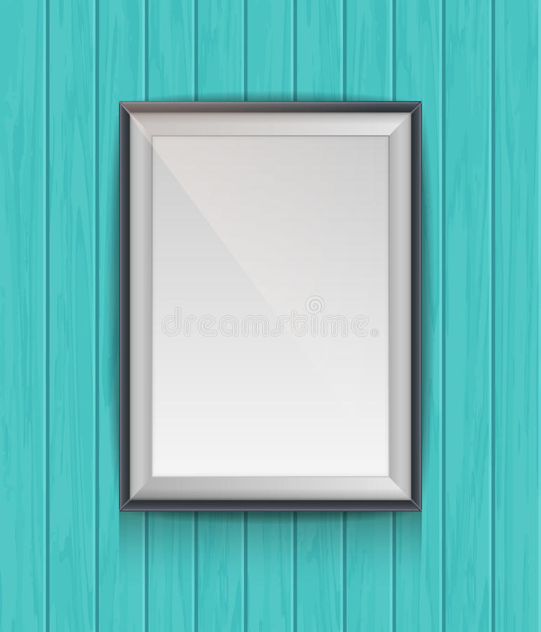 Realistic blank poster in a wooden picture frame royalty free illustration