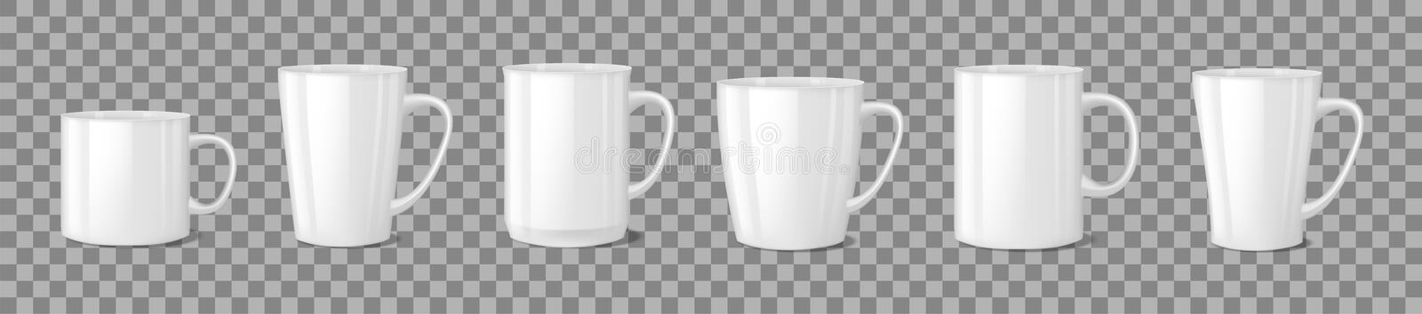 Realistic blank white coffee mug cups on transparent background. Cup template mockup isolated. teacup for breakfast vector illustration