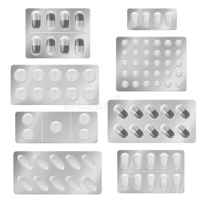 Realistic blister packs pills. Medical tablet capsules painkiller drugs vitamin antibiotic aspirin. Medicine packing. Mockup vector set royalty free illustration