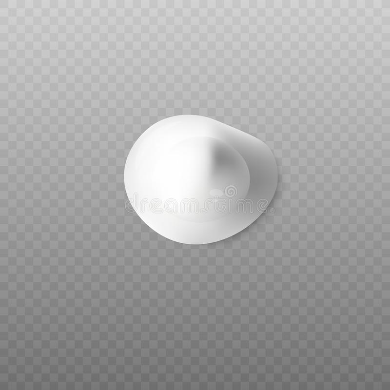 Realistic blop of body cream top view on transparent background. vector illustration