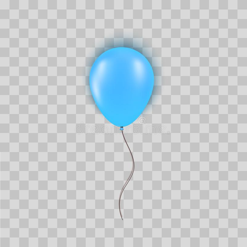 Realistic blue balloon isolated on transparent background. Design element for Birthday party, grand opening or Big Sale vector illustration